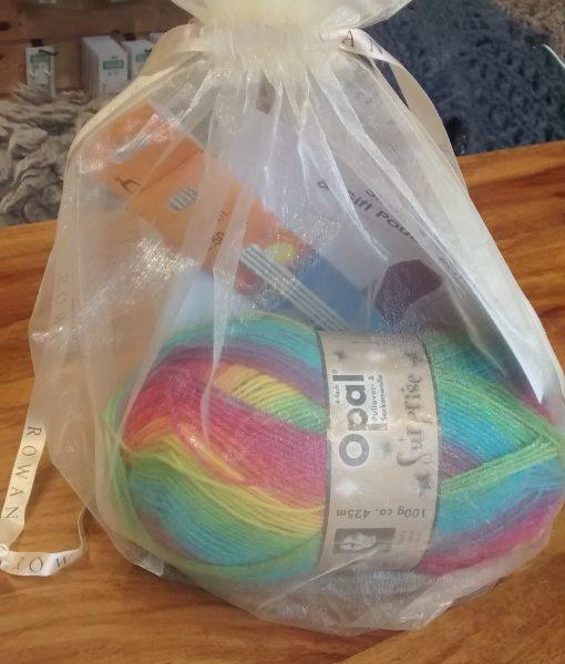 Sock knitting kit in bag