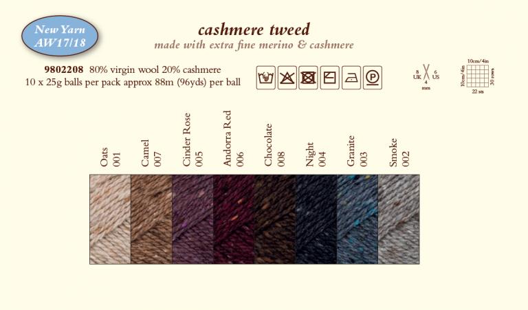 Rowan Cashmere Tweed Shade Card 1718