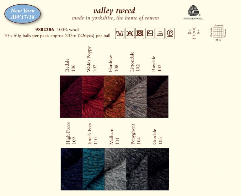 Valley Tweed shade card 1718